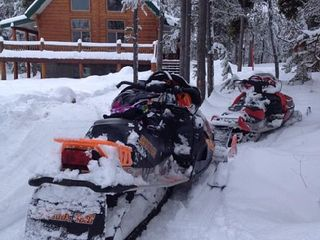 Snowmobile right from the cabin